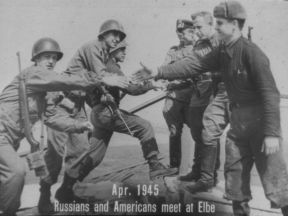 RUSSIANS AND AMERICANS MEET AT ELBE
